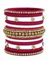 Pink and White Designer Silk Thread Bangle