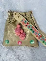 Gold Potli Bag with Embroidered Multi Bag