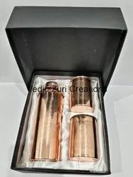 CU-26 Embossed Copper Bottle and 2 Glass Set With Box