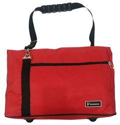 Red Coated Fabric Travel Bag