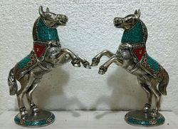 Metal Horse With Stone Work