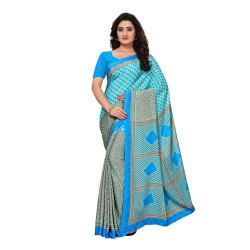 Blue Colored Crepe Printed Casual Saree