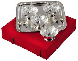 Silver Plated Tray with 4 Bowls