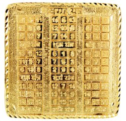 Kesar Zems Brass Nav Grah Yantra (Golden Colour)