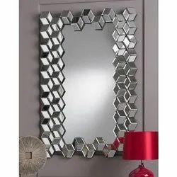 Rectangular Designer Glass Mirror, for Bathroom