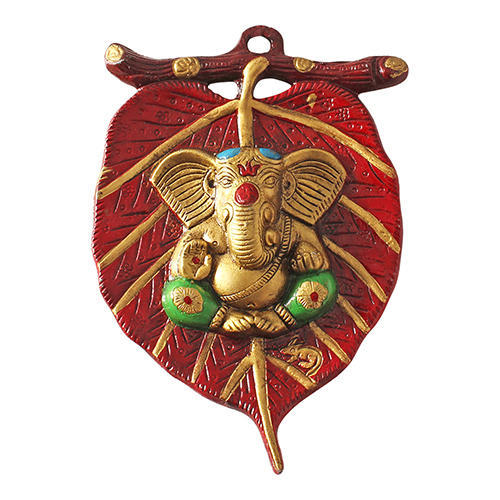 Red Gold Plated Metal Wall Hanging Lord Ganesha Decorative Gift
