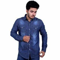 Plain Collar Neck Mens Denim Shirt