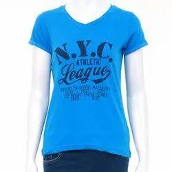 Half Sleeve Round Ladies Printed Cotton T Shirt, Size: S- XXL