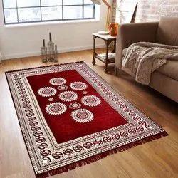 Mandala Circle Design Chenille Carpet Rug 5 x 7