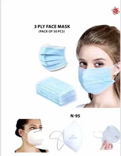 Disposable Face Mask, Number of Layers: 3ply