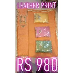 Party Wear Full Sleeves Ladies Leather Printed Unstitched Suit