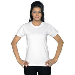 White Cotton Womens Round Neck T- Shirt