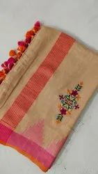 Cotton Linen Temple Embroidery Work Sarees