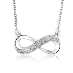 18K White Gold Infinity Diamond Pendant