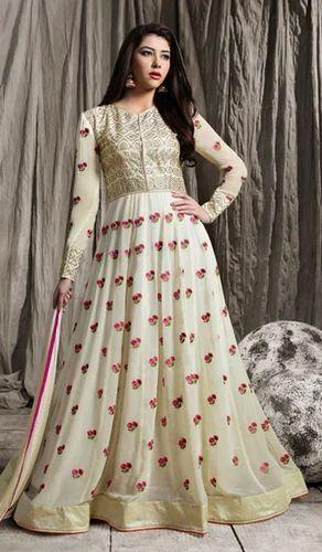 e3c2f45dce Offwhite Party wear Off White Color Silk Georgette Designer Anarkali Suit