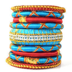 Turquoise Color Girls Trendy Silk Thread Bangles