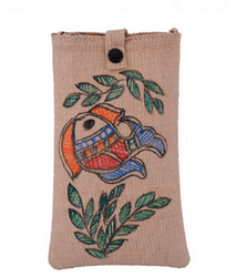 Beige Jute Mobile Cover With Handmade Madhubani Painting