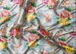 Polyester Printed Woven Chintz Fabrics For Garment, GSM: 100-150
