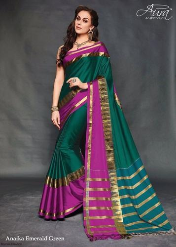 cfbdc5715e Festive Wear Printed Cotton Silk Party Wear Sarees, With Blouse Piece