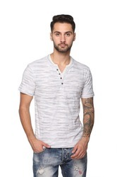 Cotton Henley Neck T-Shirt For Men