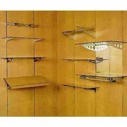 Wall Mounted Glass Slatwall Shelves