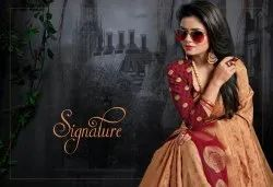 Designer Tussar Silk Embossed Saree with Zari Butta