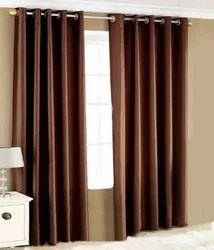 Cotton Brown Plain Window Curtain, Size: 5-6 Feet(h)