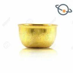 Round Golden Colored Plastic Bowl