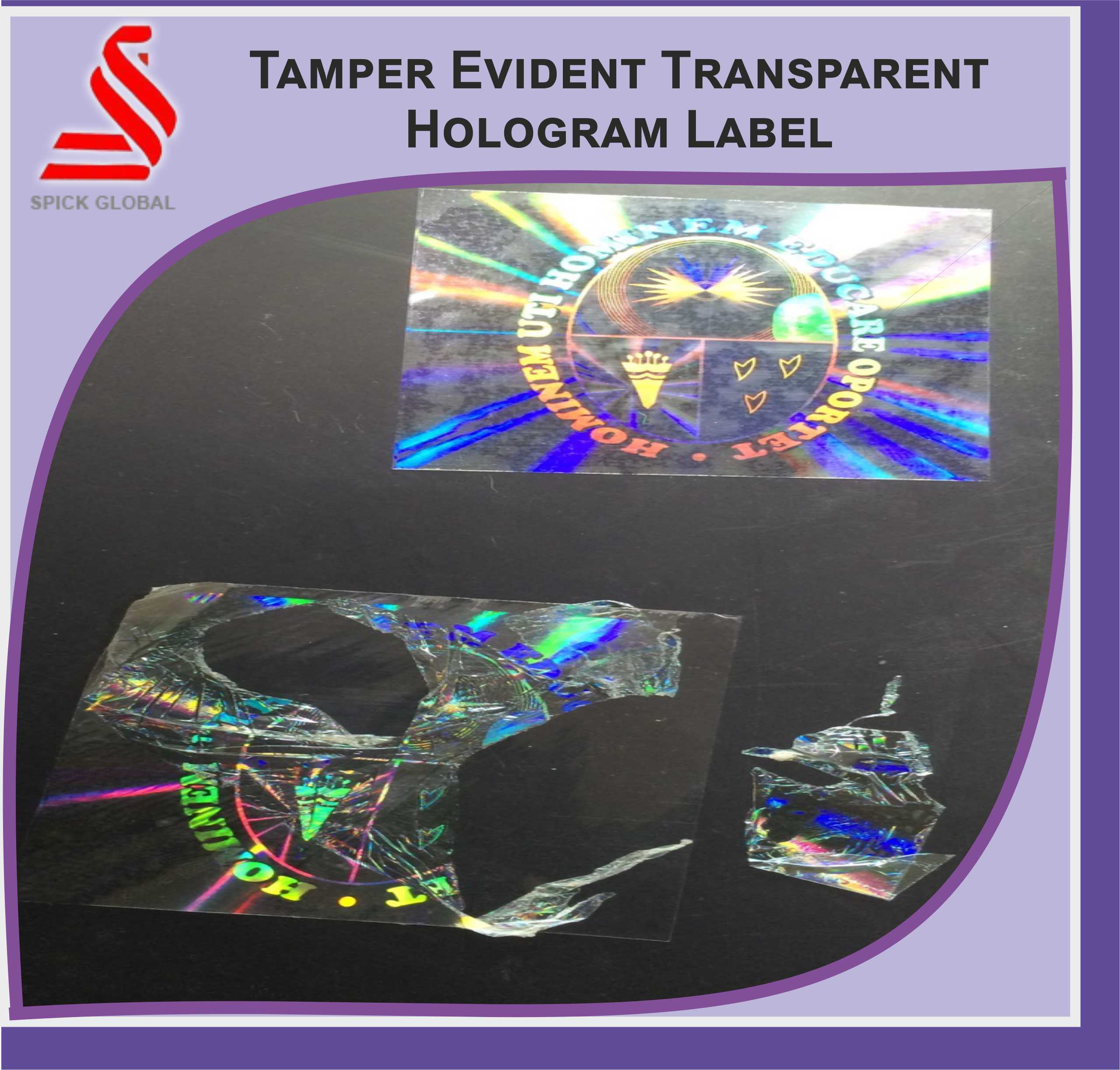 Spick global hologram tamper proof sticker labels packaging type cartons