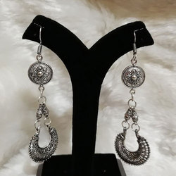 Oxidized Long German Silver Earrings