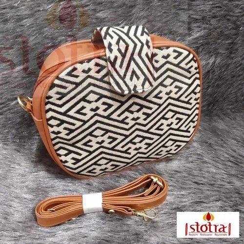 Handwoven Jute & Leather Bag