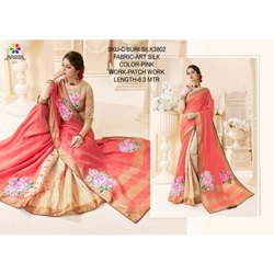 Ladies Pink Art Silk Saree