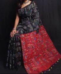 Casual Wear Cotton silk madhubani print saree, 6.3 m (with blouse piece), printed
