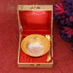 Golden Plated HHIGS004 HHI German Silver Printed Bowl, Spoon And Tray Set