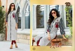Rayon Ankle Length Zeba Straight Kurti, Wash Care: Dry Clean