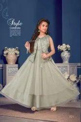 Designer Kids Gown Anarkali Style With Heavy Handwork
