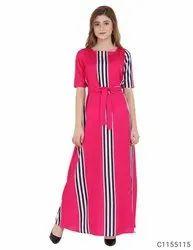 Casual Stitched Women crepe stripes maxi dress