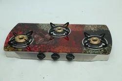 Quba 3 Burners Colored Glass Top Brass Burners Gas Stove