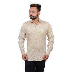 Cotton M And L Mens Full Sleeves Printed Shirt