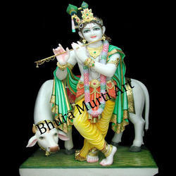 Multi Colour Marble Krishna Statue