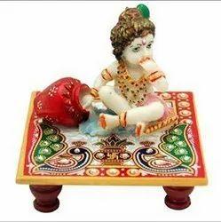 Multicolor Marble Krishna Chowki, For Worship