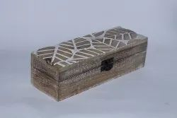 Wooden Handcrafted Leaf Carving White Wash Box
