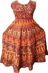 100% Cotton Comfort Rajasthani Jaipuri Free Size Dress (midi