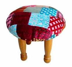 Patch Work Velvet Stool