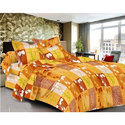 Yellow Cotton Printed Bed Sheet