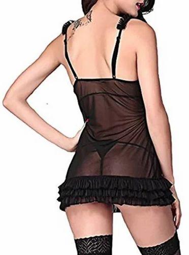 Satin Black Fancy Ladies Baby Doll Nightie ea1150db1