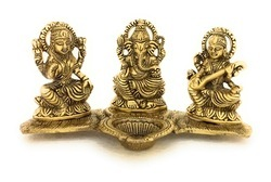 Gold Plated Metal Laxmi Ganesh Saraswati With Deepak
