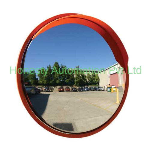 Convex Road Safety Mirror Diameter 24inch 60cm Wide View Angle,Polycarbonate Unbreakable Traffic Mirror Orange for Blind Spot Security Surveillance with Wall Fixing Bracket