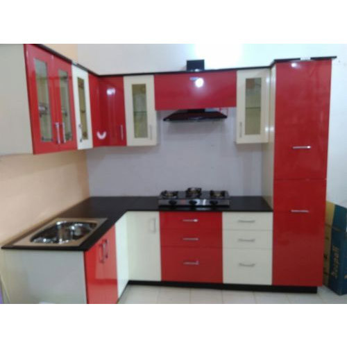 Red and white modular kitchen cabinets at rs 65000 unit - Black red and white kitchen designs ...