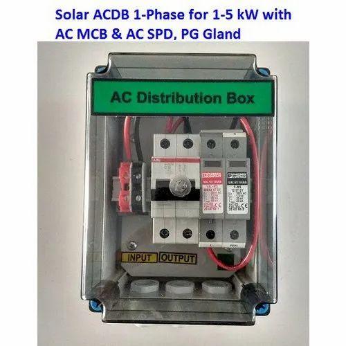 Solar ACDB 1-5 KW with AC SPD, AC MCB